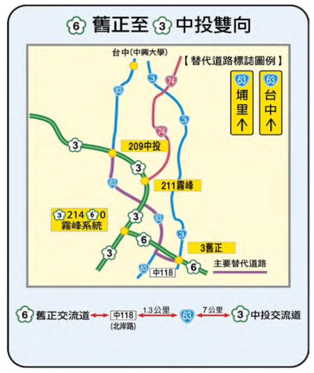 國6 舊正-國3 中投雙向替代道路圖。(高公局提供)
