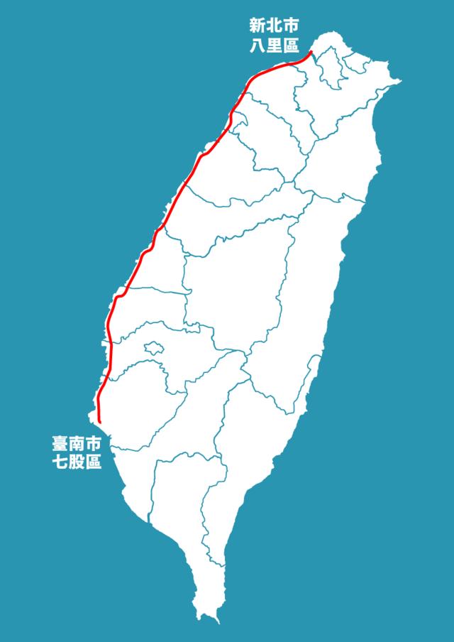 西濱快速公路位置示意圖。