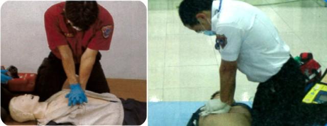 請跪在患者的側邊,膝蓋盡量靠近患者的身體,兩膝打開與肩同寬。(翻攝內政部網站)