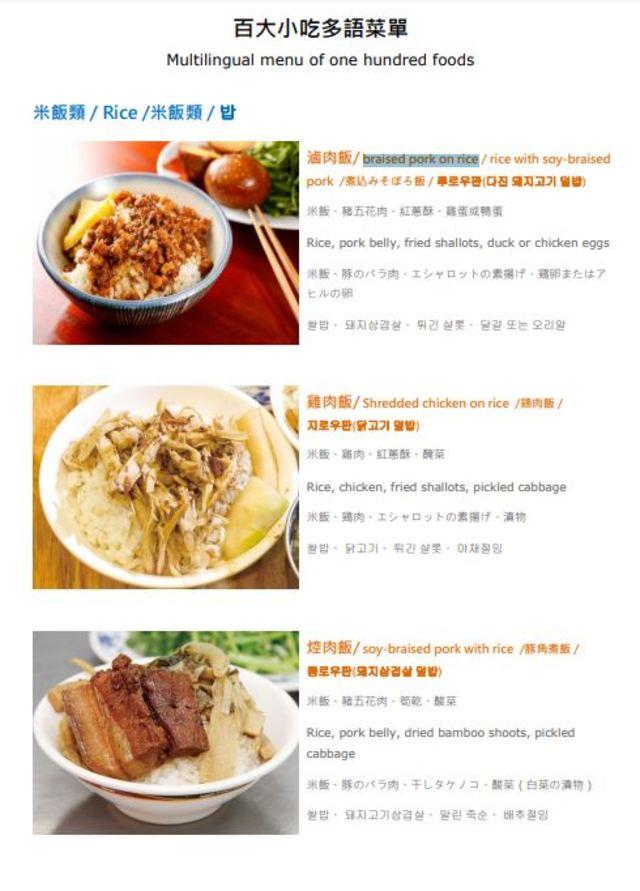 「under the water soup」?小吃店菜單英文笑翻老外   (「百大小吃多語菜單」。/翻攝自「台北旅遊網」。)
