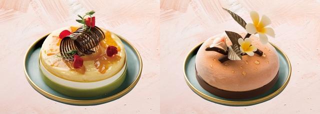 左-香橙巧克力乳酪蛋糕、右-泰式珍珠奶茶冰淇淋蛋糕。(業者提供)