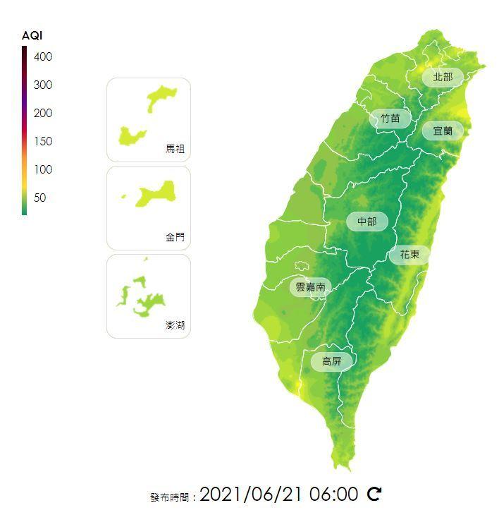 全國空氣品質指標(中央氣象局提供)