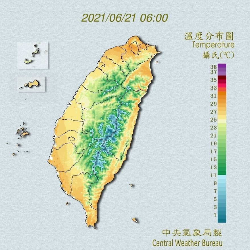 全國溫度分布圖(中央氣象局提供)