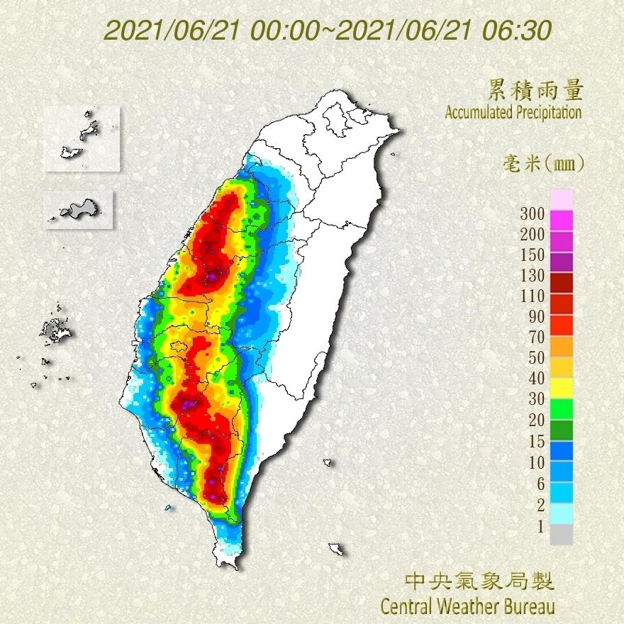 全國累積雨量圖(中央氣象局提供)