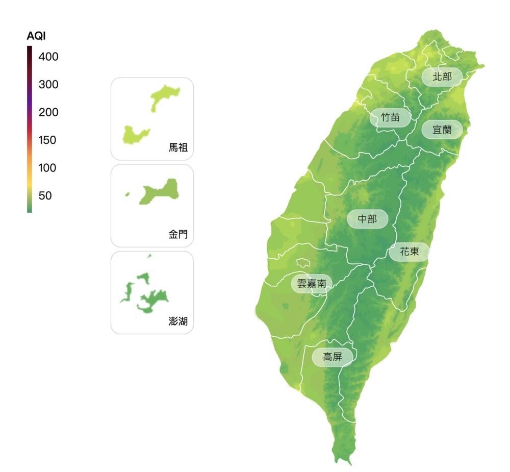 全國空氣品質(翻攝自中央氣象局)