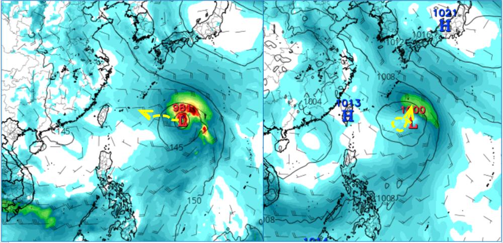 美國模式模擬熱帶擾動已有颱風強度(左圖);歐洲模式同時的模擬,強度較弱、發展也較慢(右圖)。(翻攝自「三立準氣象· 老大洩天機」專欄)