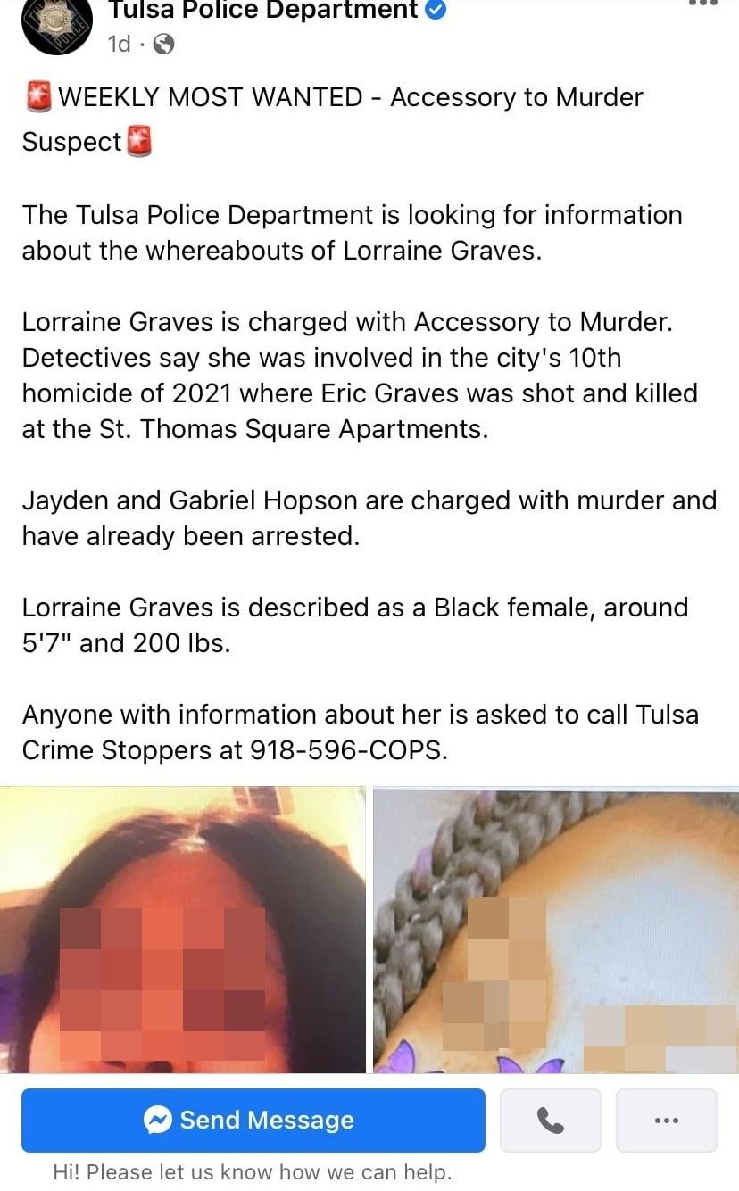 翻攝自臉書粉絲專頁「Tulsa Police Department」。