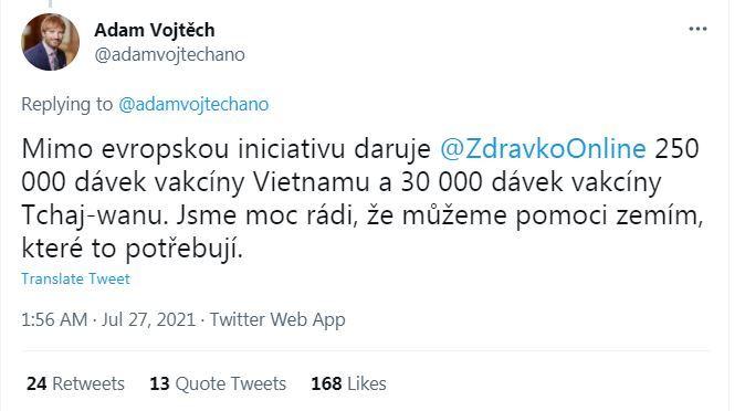捷克衛生部長渥伊泰赫貼文(翻攝自渥伊泰赫推特)