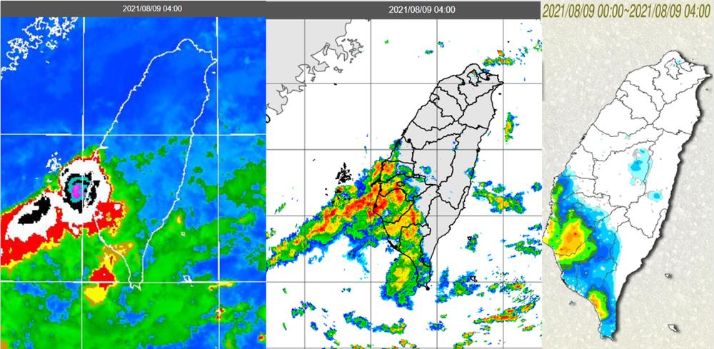 觀測資料顯示,台灣西南部仍有強對流消長(左圖),降水回波自海面移入(中圖),帶來明顯降雨(右圖)。(翻攝自吳德榮專欄「三立準氣象· 老大洩天機」)